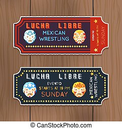 Vintage Lucha Libre vector tickets with mexican wrestling masks