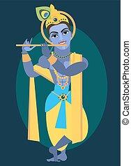 senhor, vetorial,  Vishnu,  krishna