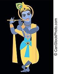 vector lord Vishnu Krishna - vector illustration lord Vishnu...
