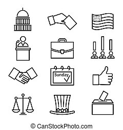 Voting and elections linear vector icons