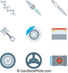 Car spare parts flat icons. Tool and repair, design motor...