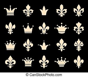 Crown and fleur de lis icons