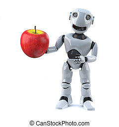 3d Robot has a red apple - 3d render of a robot holding a...