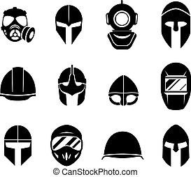 Helmets and masks vector icons - Helmets and masks icons...