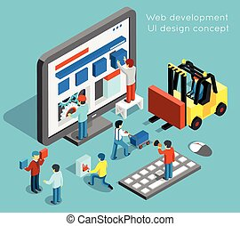 Web development and UI design vector concept in flat 3d...