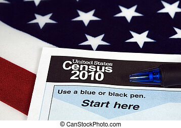 Decade Report - Ink pen and census form on American flag.