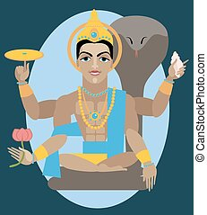 vector lord Vishnu - vector illustration lord Vishnu...