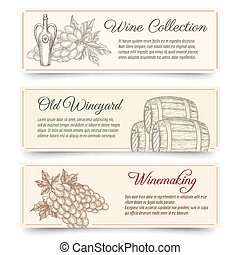 Wine and wine making banners set. Drink and food, product...