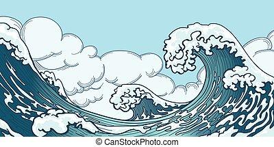 Ocean big wave in Japanese style. Water splash, storm space,...