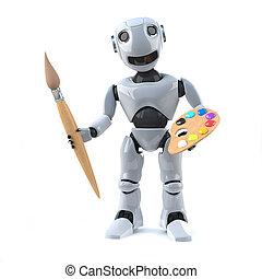 3d Robot artist - 3d render of a robot holding a paintbrush...