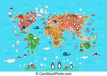 World map with animals. Vector illustration in cartoon style