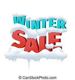 Winter sale 3d vector inscription on white background