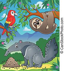 Animals in jungle topic image 1 - eps10 vector illustration