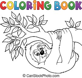 Coloring book sloth on branch - eps10 vector illustration.