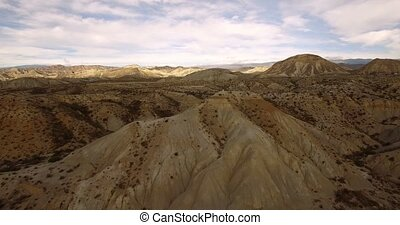 4k Aerial View in the desert, Sierra Alhamila, Spain -...