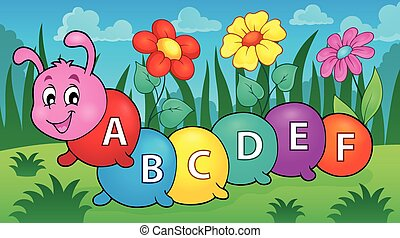 Happy caterpillar with letters theme 2