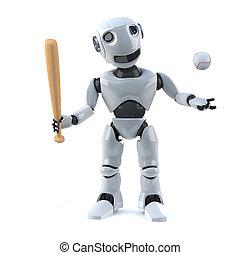 3d Robot baseball player - 3d render of a robot holding a...