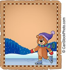 Parchment with ice skating bear - eps10 vector illustration