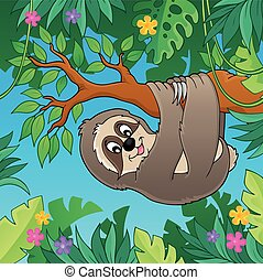 Sloth on branch theme image 2 - eps10 vector illustration