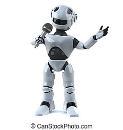 3d Robot has the microphone - 3d render of a robot speaking...