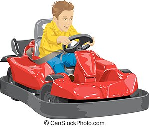 Boy driving go kart so happy about it