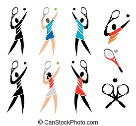 Tenis icons - Set of black and colorful icons of tennis...