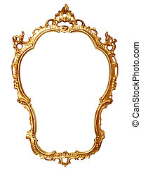 gold frame - old antique gold frame over white with clipping...