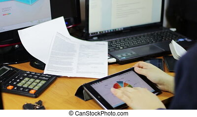 Business Work In A Table - Business woman working with the...