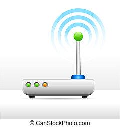 computador, modem, antena, sinal, imagem