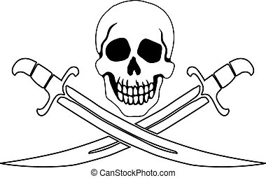 Pirate symbol Jolly Roger - Jolly Roger Pirate sign on white...