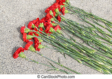 Flowers at war monument - Bouquet of carnations on stone...