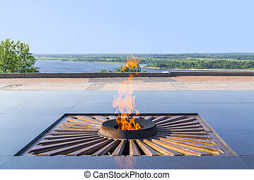 Eternal flame - Burning eternal flame at mass tomb of...