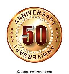 50 Years anniversary golden label.