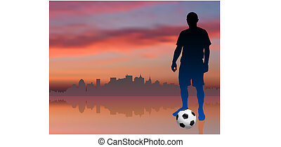 Soccer Player with Skyline Background