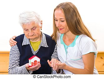 Elderly home care - Photo of elderly woman with the...