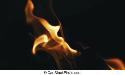 Closeup of Flames Burning on Black Background, slow motion