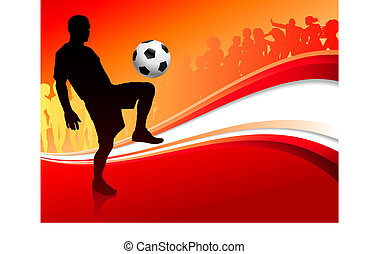 Soccer Player on Abstract Red Background Original Vector...