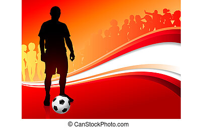 Soccer Player on Abstract Red Background
