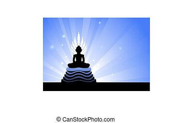 Buddha statue on blue glowing background