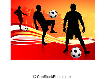 Soccer Team on Abstract Background Original Vector...