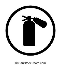 fire extinguisher icon, isolated, on white background - fire...
