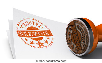 Trusted Service, Satisfaction Guaranteed - Rubber stamp...