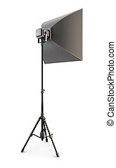 Studio strobe on white background Studio softbox isolated 3d...