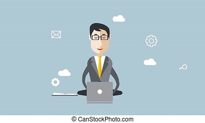 Businessman with multitasking and multi skill. Animated -...