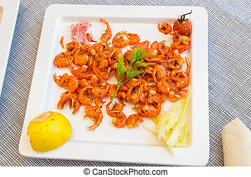 Symi shrimps - Miniature shrimps known as Garidaki Simiako...