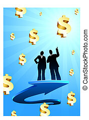 Business of profits background with two people - Origianl...