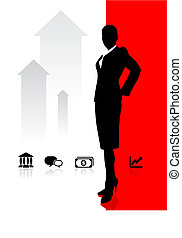 Business woman on background with banking and financial icons