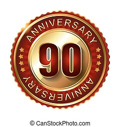 90 Years anniversary golden label.