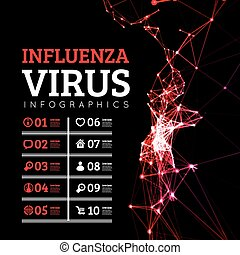 Influenza virus vector illustration in the style of points...
