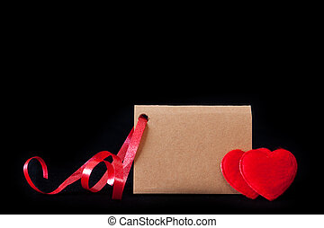 Valentine's day  card and red  hearts .